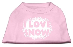 I Love Snow Screenprint Shirts Light Pink XS (8)